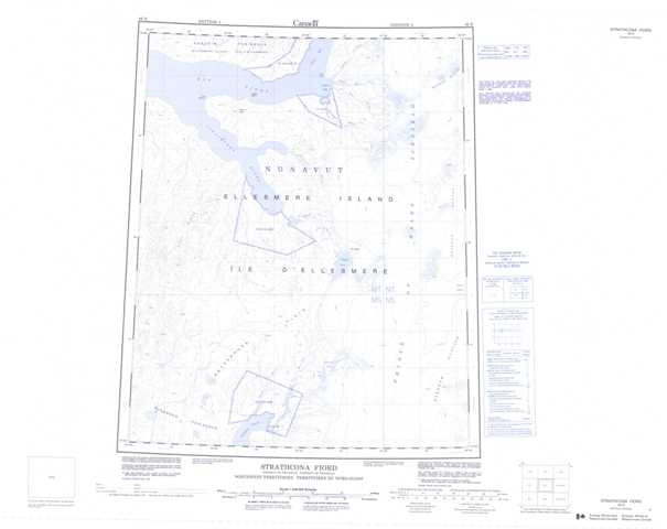Printable Strathcona Fiord Topographic Map 049E at 1:250,000 scale