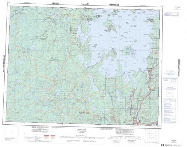 Printable Nipigon Topographic Map 052H at 1:250,000 scale