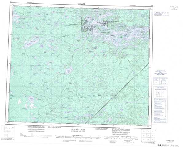 Printable Island Lake Topographic Map 053E at 1:250,000 scale