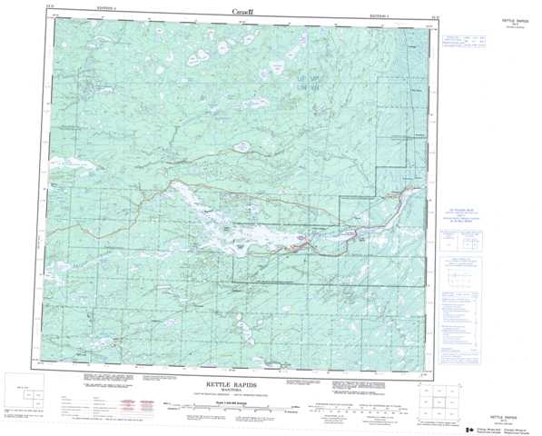 Printable Kettle Rapids Topographic Map 054D at 1:250,000 scale