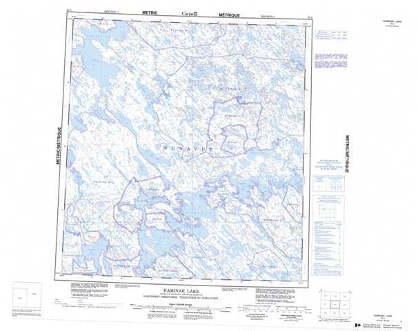 Printable Kaminak Lake Topographic Map 055L at 1:250,000 scale