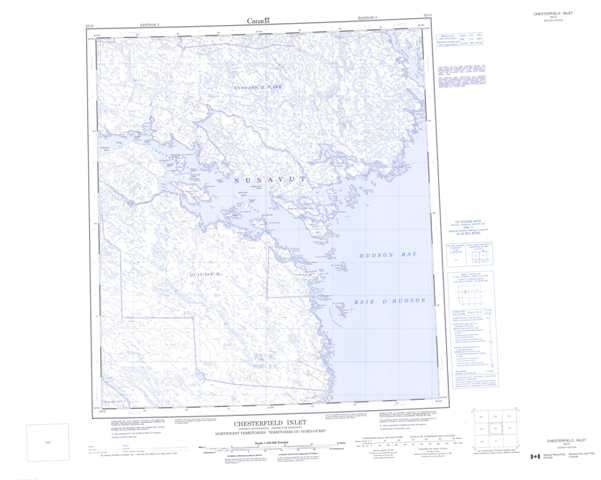 Printable Chesterfield Inlet Topographic Map 055O at 1:250,000 scale