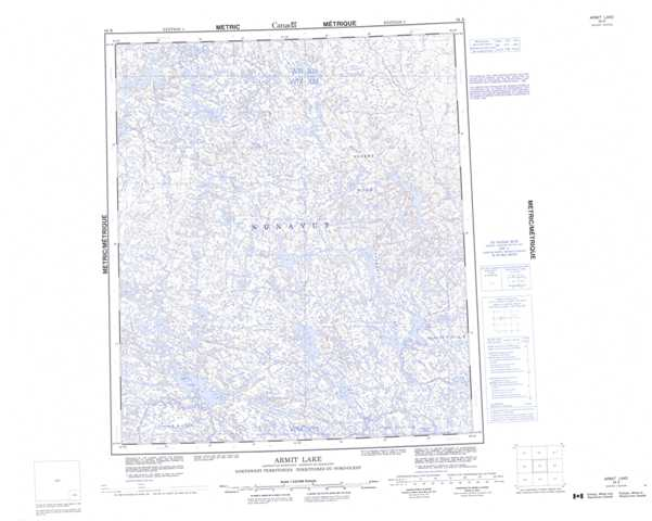 Printable Armit Lake Topographic Map 056B at 1:250,000 scale