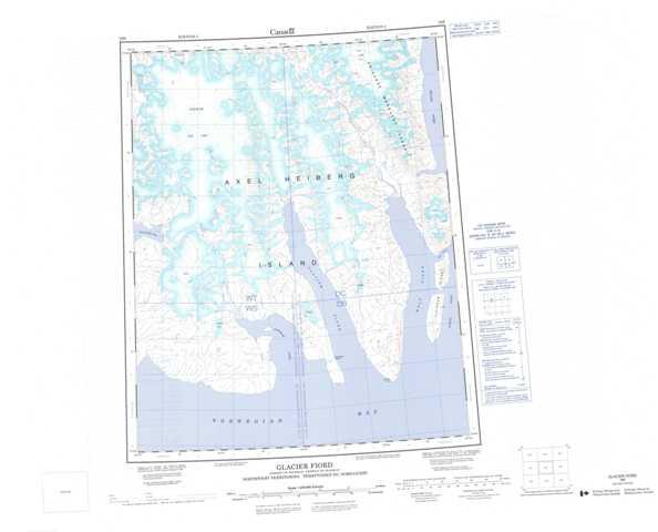 Printable Glacier Fiord Topographic Map 059E at 1:250,000 scale