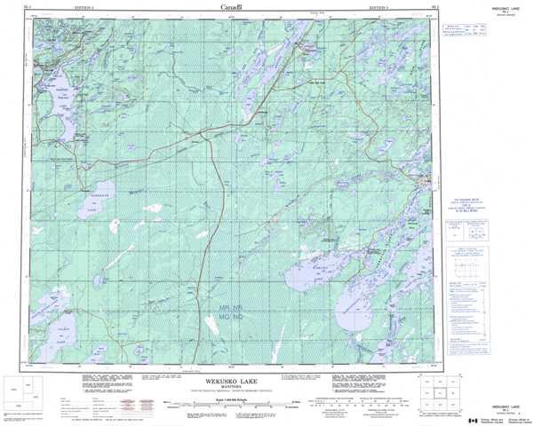 Printable Weskusko Lake Topographic Map 063J at 1:250,000 scale