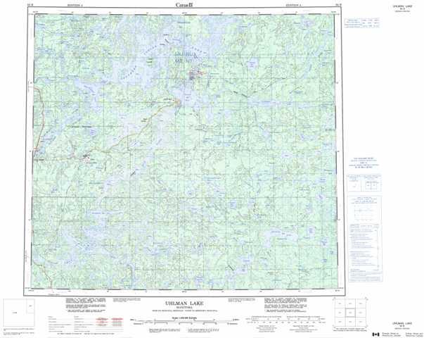 Printable Uhlman Lake Topographic Map 064B at 1:250,000 scale