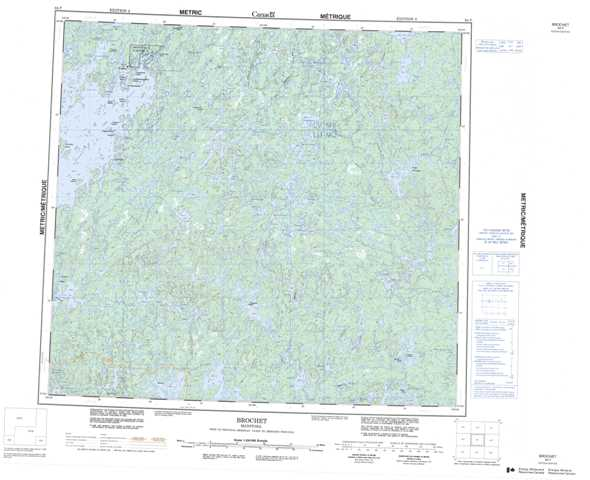 Printable Brochet Topographic Map 064F at 1:250,000 scale