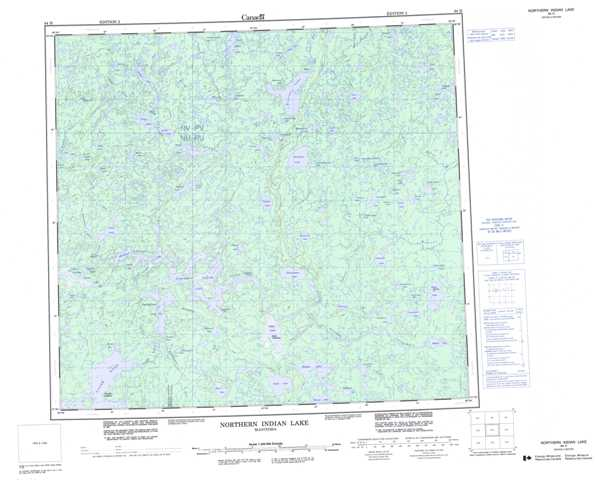 Printable Northern Indian Lake Topographic Map 064H at 1:250,000 scale
