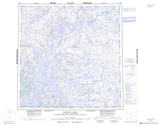 Printable Nueltin Lake Topographic Map 065B at 1:250,000 scale