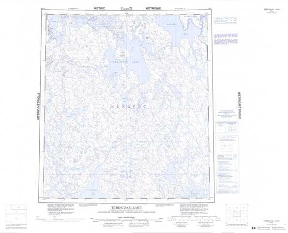 Printable Tebesjuak Lake Topographic Map 065O at 1:250,000 scale
