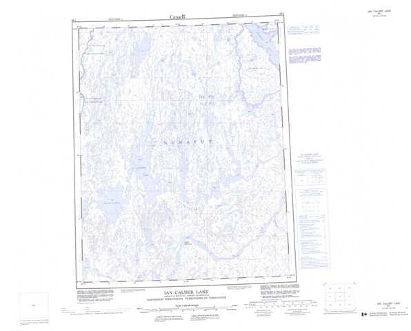 Printable Ian Calder Lake Topographic Map 066I at 1:250,000 scale