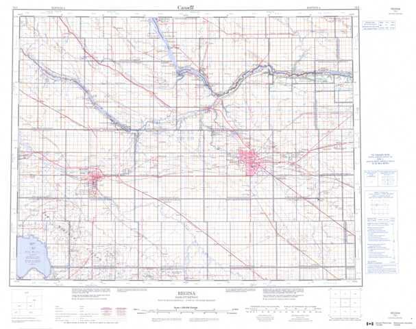 Printable Regina Topographic Map 072I at 1:250,000 scale