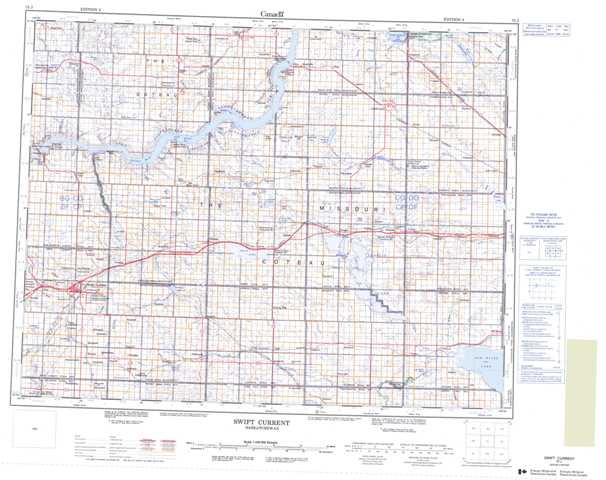 Printable Swift Current Topographic Map 072J at 1:250,000 scale