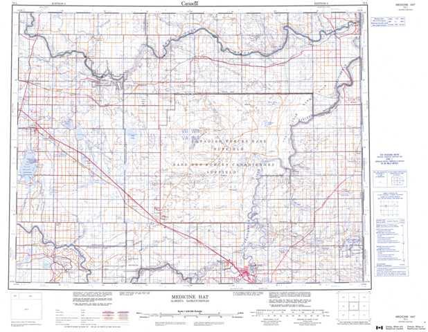 Medicine Hat Topographic Maps Free Online NTS 072L AB