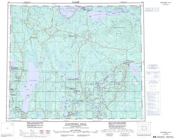Printable Wapawekka Hills Topographic Map 073I at 1:250,000 scale