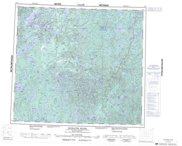 Printable Mudjatik River Topographic Map 074B at 1:250,000 scale