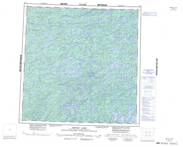 Printable Abitau Lake Topographic Map 075B at 1:250,000 scale