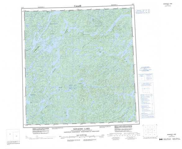 Printable Nonacho Lake Topographic Map 075F at 1:250,000 scale