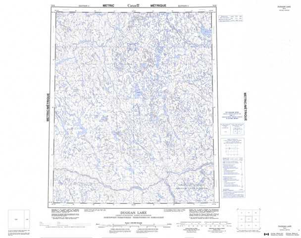 Printable Duggan Lake Topographic Map 076H at 1:250,000 scale