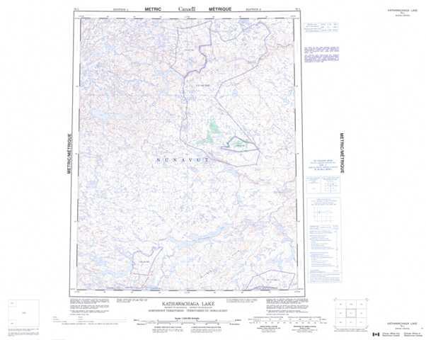 Printable Kathawachaga Lake Topographic Map 076L at 1:250,000 scale