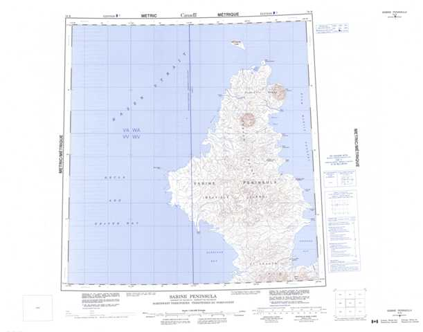 Printable Sabine Peninsula Topographic Map 079B at 1:250,000 scale