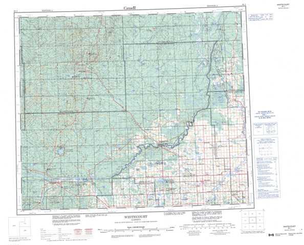 Printable Whitecourt Topographic Map 083J at 1:250,000 scale