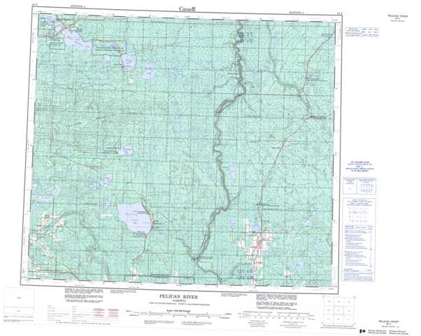 Purchase Pelican River Topographic Map 083P at 1:250,000 scale