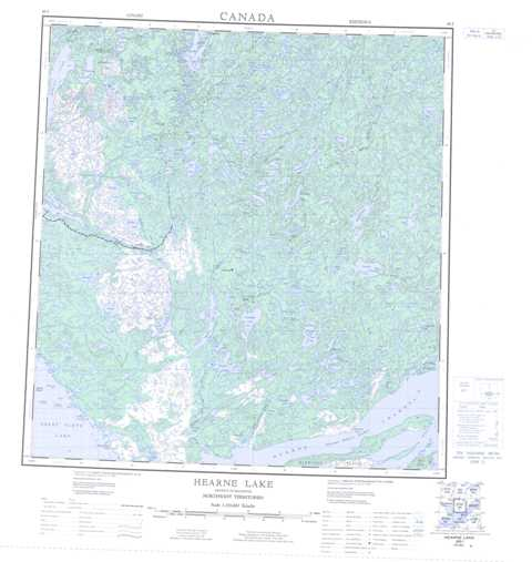 Printable Hearne Lake Topographic Map 085I at 1:250,000 scale