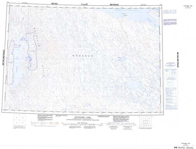 Printable Bluenose Lake Topographic Map 087B at 1:250,000 scale