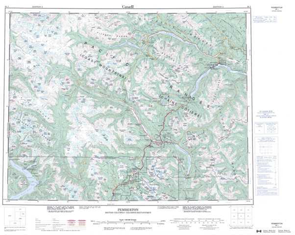 Printable Pemberton Topographic Map 092J at 1:250,000 scale