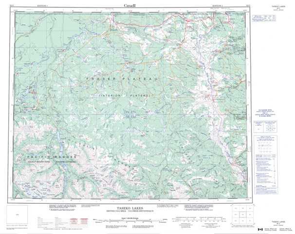 Printable Taseko Lakes Topographic Map 092O at 1:250,000 scale