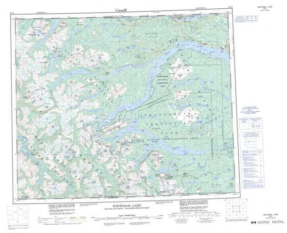 Printable Whitesail Lake Topographic Map 093E at 1:250,000 scale