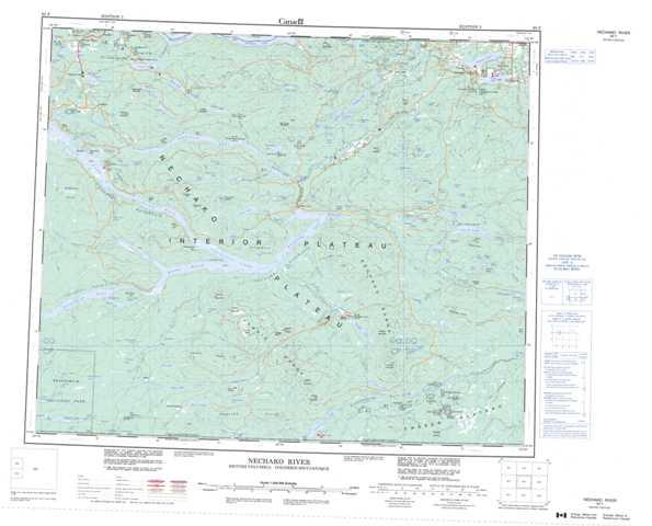 Printable Nechako River Topographic Map 093F at 1:250,000 scale