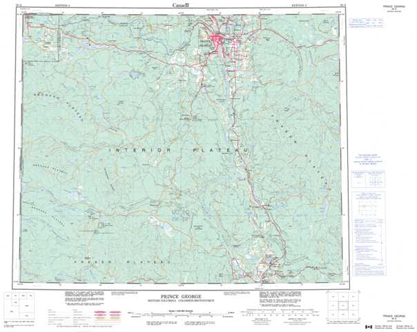 Prince George Topographic Map that you can print: NTS 093G at 1:250,000 Scale