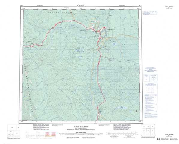 Printable Fort Nelson Topographic Map 094J at 1:250,000 scale