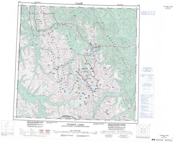 Printable Tuchodi Lakes Topographic Map 094K at 1:250,000 scale