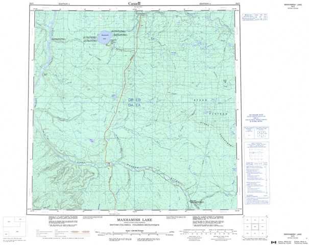 Printable Maxhamish Lake Topographic Map 094O at 1:250,000 scale