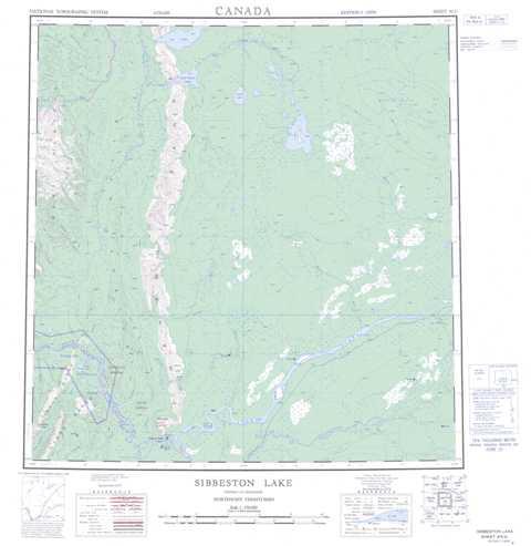 Printable Sibbeston Lake Topographic Map 095G at 1:250,000 scale