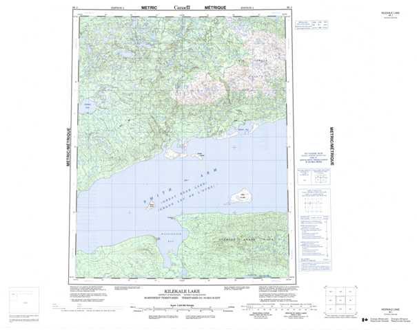 Printable Kilekale Lake Topographic Map 096J at 1:250,000 scale