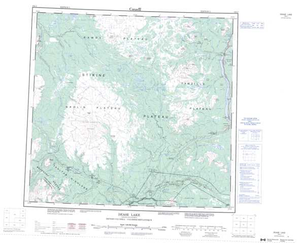 Printable Dease Lake Topographic Map 104J at 1:250,000 scale