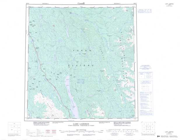 Printable Lake Laberge Topographic Map 105E at 1:250,000 scale