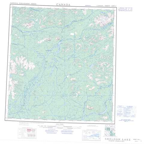 Printable Sheldon Lake Topographic Map 105J at 1:250,000 scale