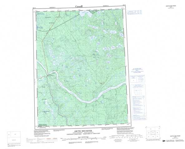 Printable Arctic Red River Topographic Map 106N at 1:250,000 scale