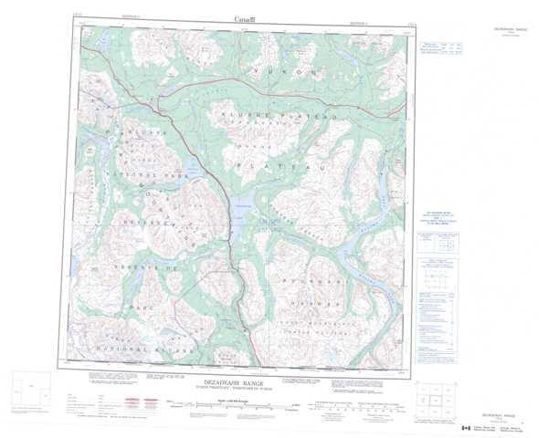 Printable Dezadeash Range Topographic Map 115A at 1:250,000 scale