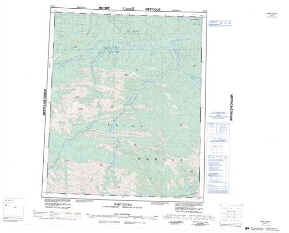 Printable Hart River Topographic Map 116H at 1:250,000 scale