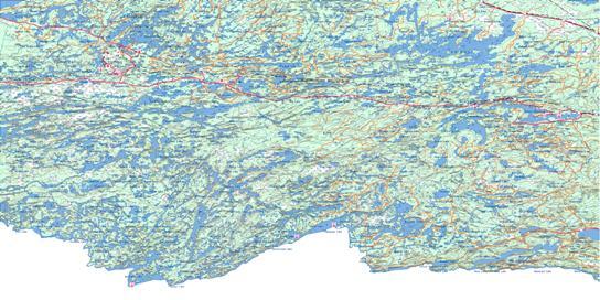 Quetico Topo Map 052B at 1:250,000 Scale