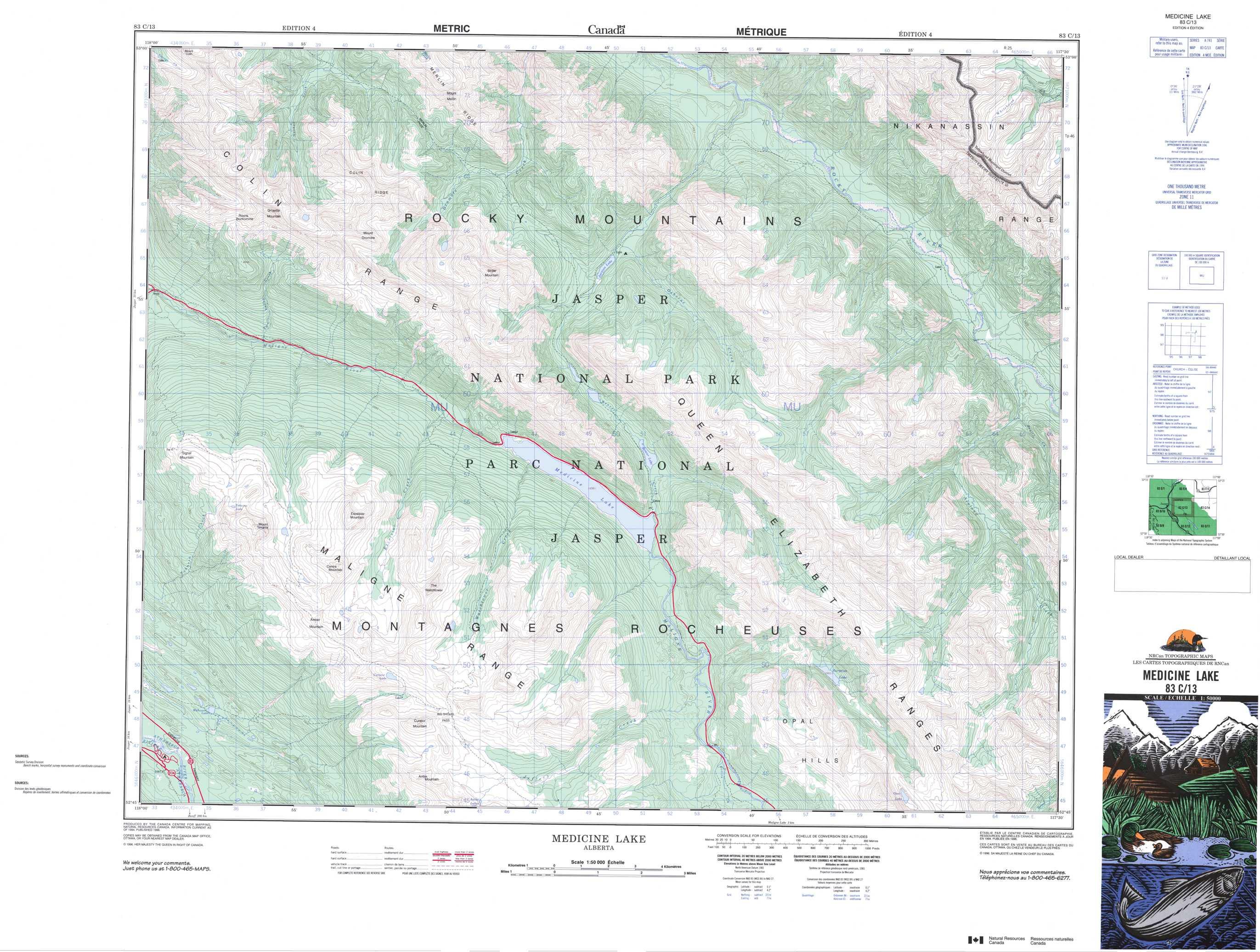 Medicine Lake Canada Map Buy Medicine Lake Topographic Map: NTS Sheet 083C13 at 1:50,000 Scale