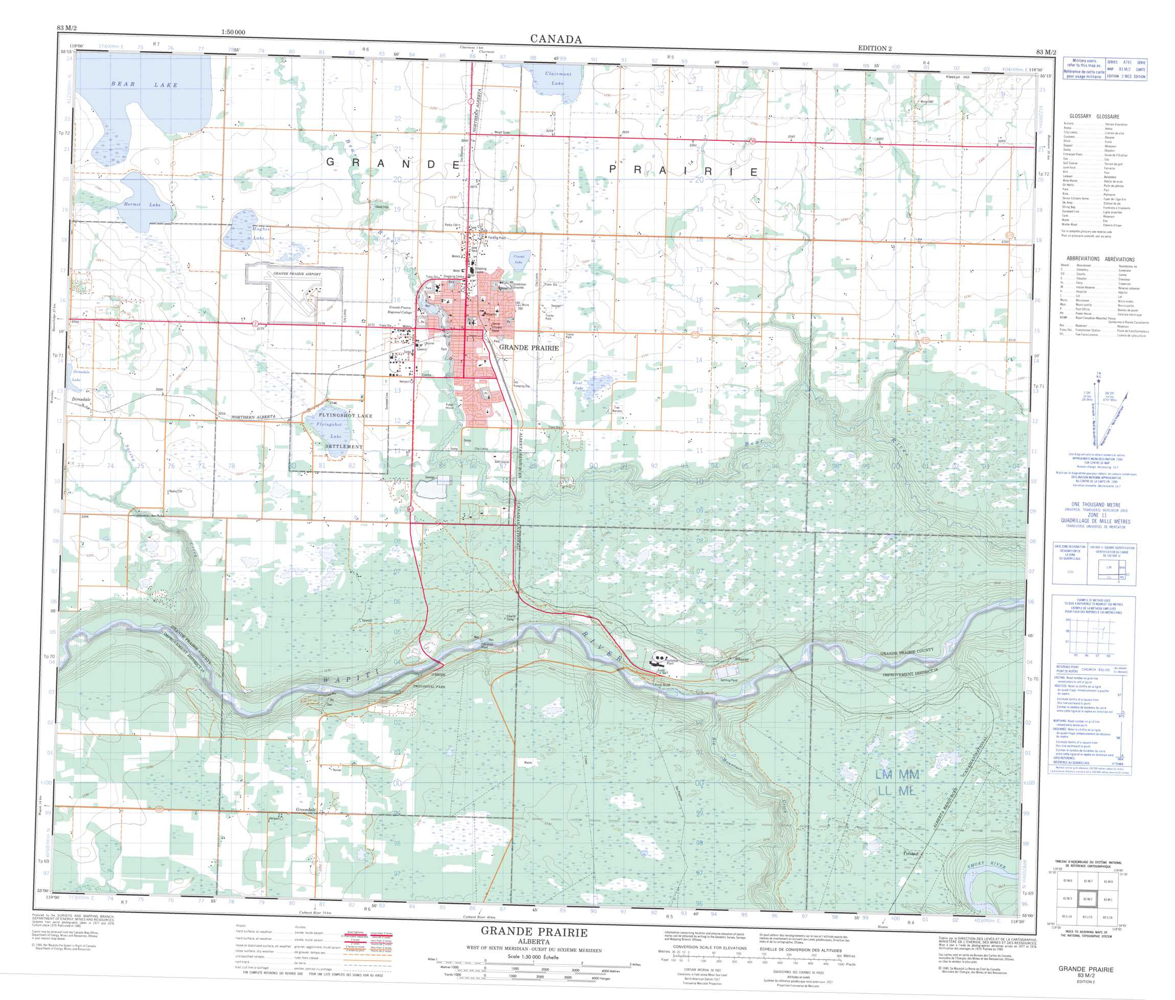 Buy Grande Prairie Topographic Map NTS Sheet 083M02 at 150000 Scale
