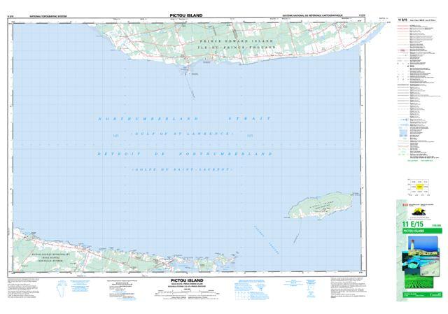 Pictou Island Topographic Paper Map 011E15 at 1:50,000 scale