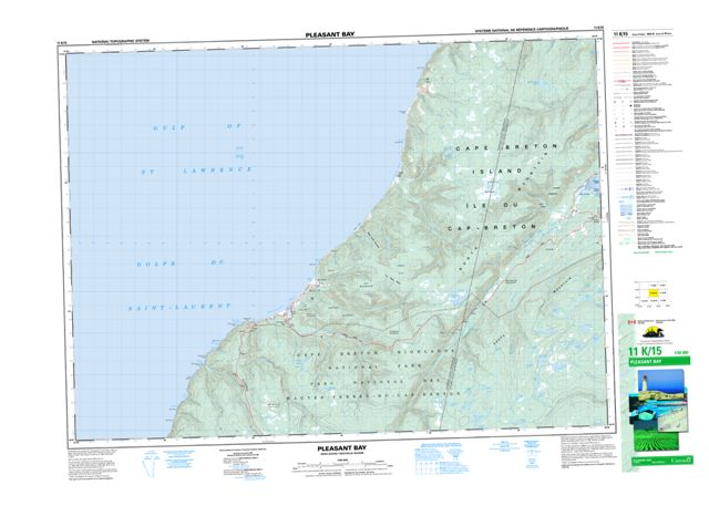Pleasant Bay Topographic Paper Map 011K15 at 1:50,000 scale